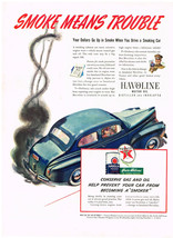 Vintage 1941 Magazine Ad Texaco & Havoline Oil Prevent Smoking Car / Bor... - $5.93
