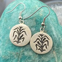 Silver Rounded Corn Symbol Dangle Earrings - $70.00