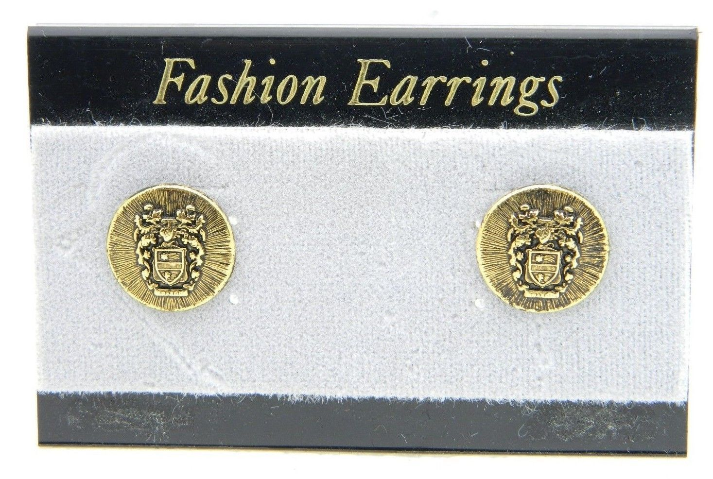 VTG Style Gold Tone Bozzon Shield of Arms Post Earrings