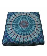 "Blue Mandala 35"" Square Pouf Handmade Hippie Bohemian 100% Cotton Home D... - $24.99"