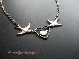 Silver Sparrows Baby Bird Necklace Silver Heart Necklace Love Birds Neck... - $36.00+