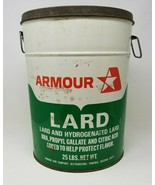 Vintage Armour Lard 25 pound can container green white red with handles - $15.83