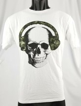 The Childrens Place Boys XXL 16 Graphic White T Shirt Skull W/ Headphones - $8.55