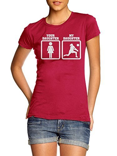 YOUR DAUGHTER MY DAUGHTER VOLLEYBALL S Red Girly Tee