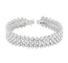 Kerra Chevron Cubic Zirconia Tennis Bracelet   - 7in - $125.95