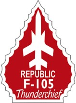 """Official USAF Republic F-105 Thunderchief Decal 2.95"""" Wide x 4"""" High - $11.87"""