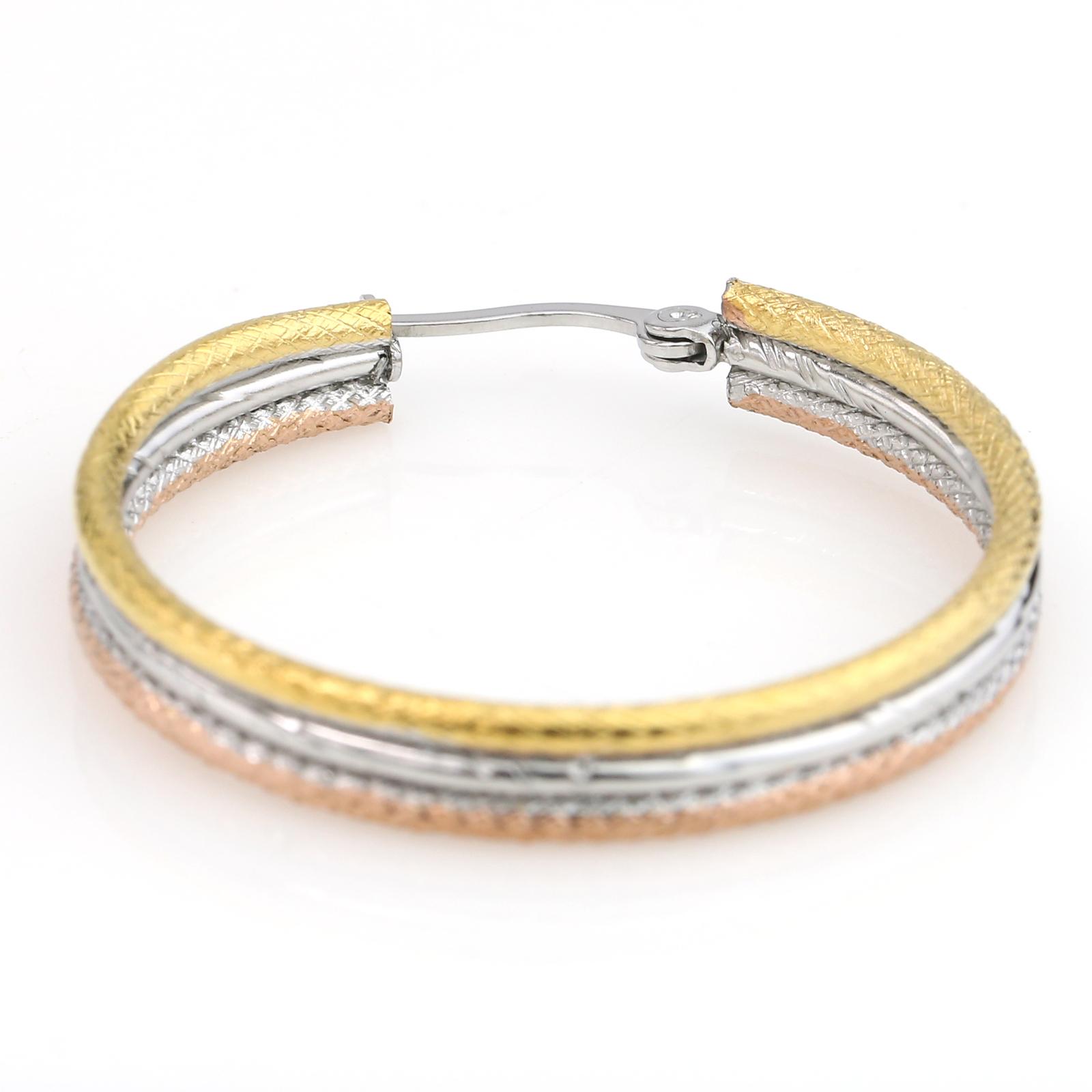 Sleek Textured Tri-Color Silver, Gold & Rose Tone Hoop Earrings- United Elegance