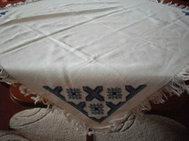 Vintage hand-embroidered tablecloth, white, blue 75 x 75 cm - $13.50