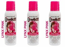 New 3 Pack Jerome Russell B Wild Temporary Hair Color Spray 3.5 OZ Lynx Pink