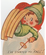 Vintage Valentine Card Skiing Boy Started to Fall Skis Pull Out 1940s Di... - $12.86