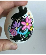 REAL Egg Handpainted Blown Egg Animal Silhouette w Floral decor Easter/ ... - $6.25