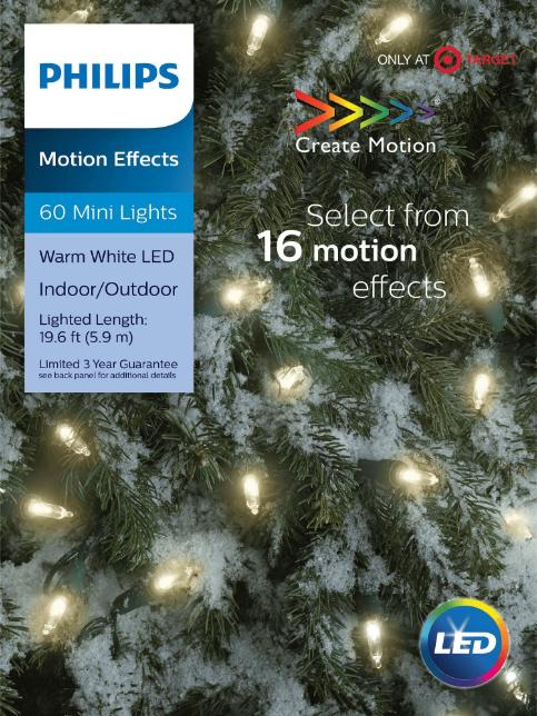 NEW Philips 60ct Christmas LED 16 Function Smooth Mini Lights Warm - White NIB