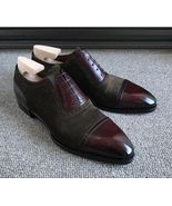 Handmade men's Dark Brown Burgundy Leather Suede Shoes, Men Lace up Cap ... - $159.97+