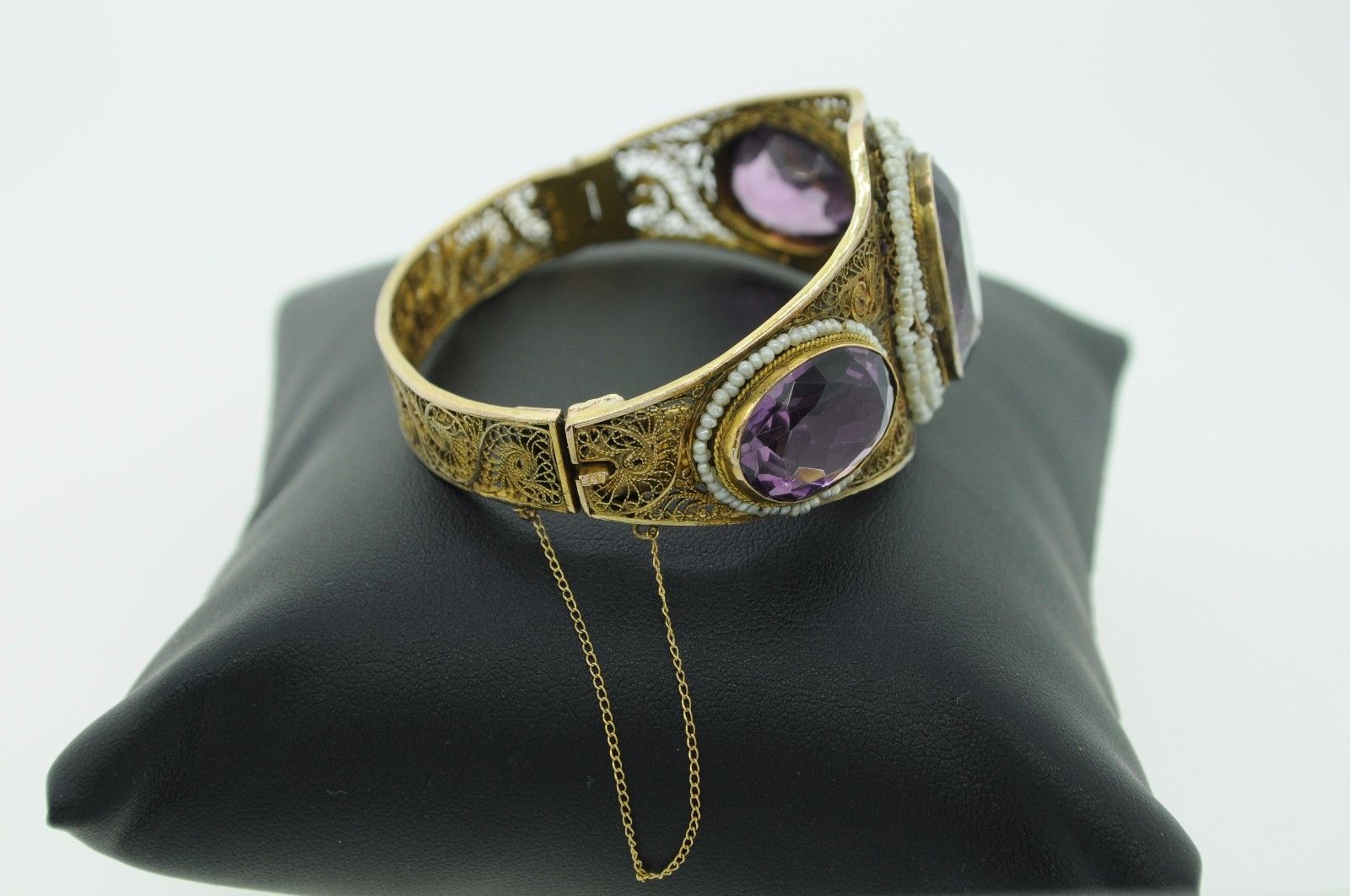 Antique (ca. 1900) 14K Yellow Gold Amethyst and Seed Pearl Bangle Bracelet