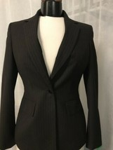 Anne Klein Women's Blazer Brown Pinstriped Lined Women's 1 Button Blazer... - $24.74