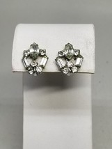 Rhinestone Vintage Screw In Earrings 1940s - $11.69
