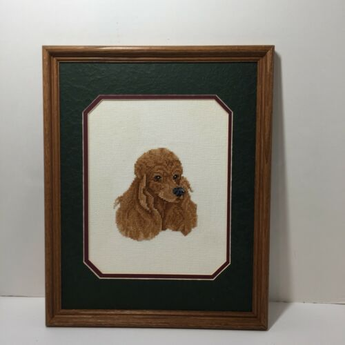 "Primary image for Brown Poodle Finished Framed Cross Stitch 12"" x 15.25"""