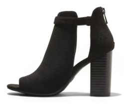 A New Day Kamari Black Microsuede Heeled Open Toe Bootie 7US image 2