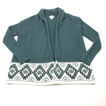 Old Navy Green White Buttonless Cardigan Swing Sweater Aztec Size Small - $15.44