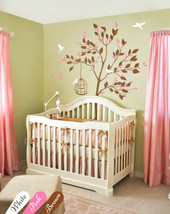 Nursery tree wall Decal with birdcage wall stickers Baby room wall Mural KW002_2 - $69.56