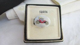 Vintage Swank Model A Antique Car Tie Clasp SilverTone Enamel Original Box - $8.99