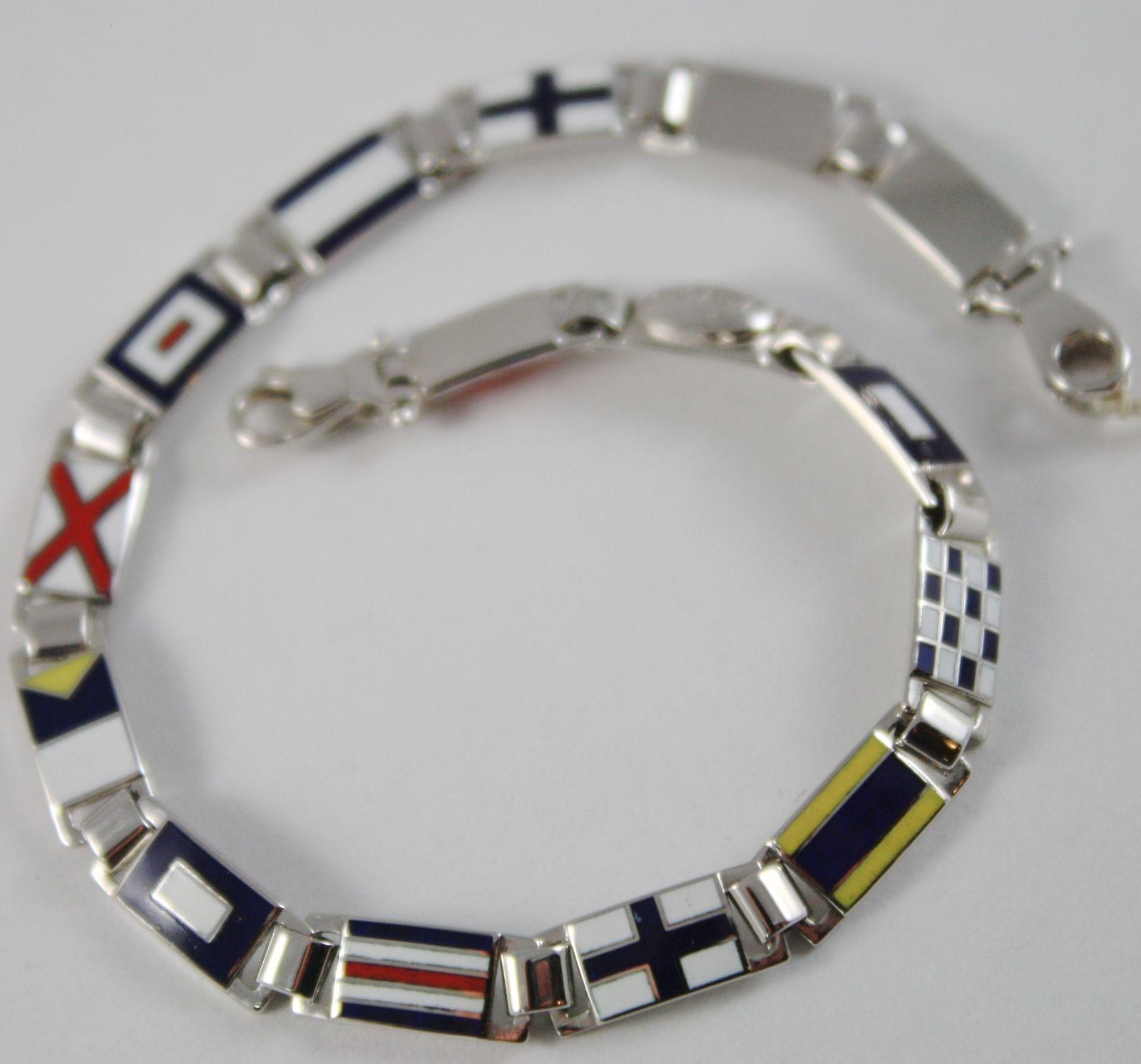 Bracelet or Blanc 750 18K, Drapeaux Nautique 5.5 mm , Email, Fabriqué en Italie