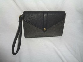 Fossil Sofia Phone Card Case Wallet Wristlet Clutch Pewter Leather SWL3045044 - $43.07