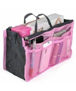 Pink Cosmetic Bag Large Purse Organizer Inserts with zipper - $3.81
