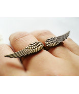 Antique Brass Angel Wing Duo Ring Set Brass Angel Wings Charm Adjustable... - $32.00
