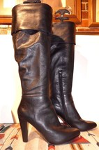 Women's Nine West Black Leather TALL Heeled Roll Collar Boots Sz. 6.5M - $44.06