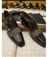 Handmade Men Formal monk Shoes, Mens gray fabric and black leather dress... - $169.99