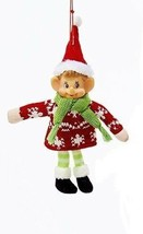 Kurt Adler Retro Stuffed Knit Fabric Elf w/ Sweater & Red Hat Christmas Ornament - $7.88