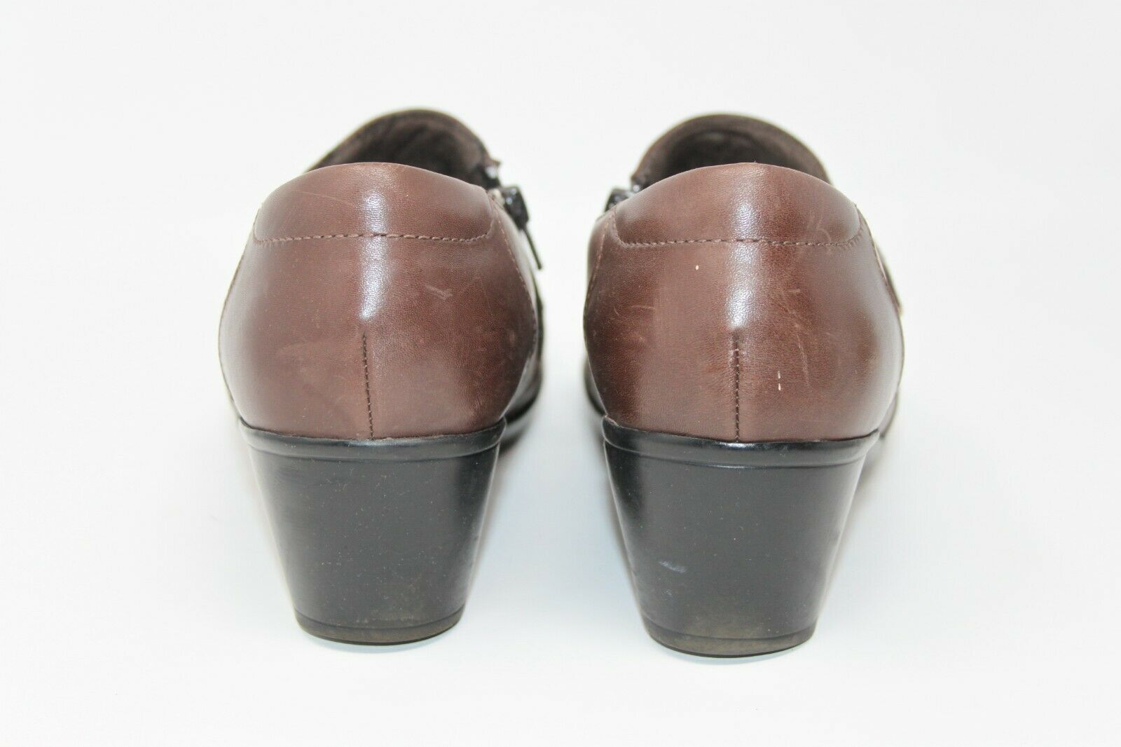 Clarks Size 9.5 M Bendables 62938 Clogs Shoes Brown Leather Zip Size Mules