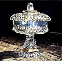 Heavy Cut Glass 2 Piece Chalice  with Gold Accents  AA18-11906 Vintage