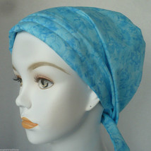 Ice Blue Cancer Chemo Head Scarves Turban Hair Covering Padded Elastic Hat - $16.95