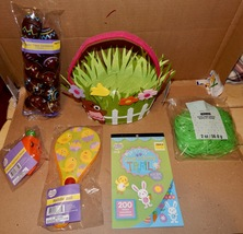 Easter Mix Lot 6 Items Felt Basket Paddle Ball Grass & Eggs Stickers Racer 163O - $12.49