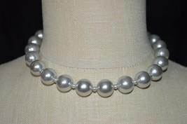 Vintage Grey Gray Silver Acrylic Bead Beaded Choker Necklace (B) - $13.86