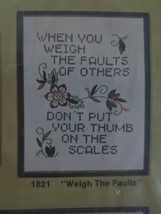 """SEALED WonderArt WEIGH THE FAULTS Linen Sampler to Embroider #1821 - 11""""... - $7.92"""