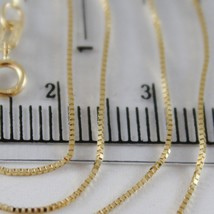 18K YELLOW GOLD CHAIN MINI 0.7 MM VENETIAN SQUARE LINK 15.75 INCH. MADE IN ITALY image 2