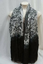Cejon Wrap Black Grey Ombre Paisley Print Frayed 100% Rayon Large Shawl ... - $15.35