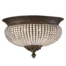 Beaded Crystal Flush Mount 15D Ceiling Light Glass Chandelier Bronze Mia - $261.80