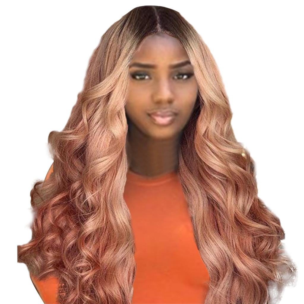 Remy Wave No Lace Front Human Hair Wigs Rose Gold Wigs