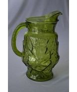 Libbey Glass Country Garden Flower Olive Green Pitcher - $12.38