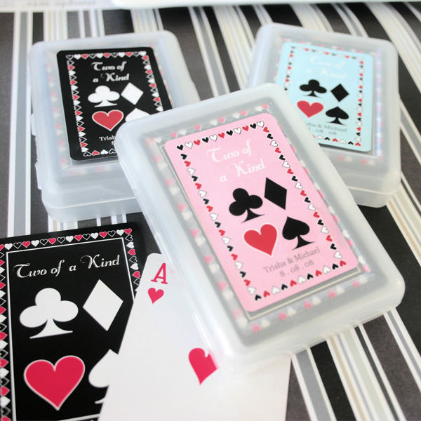 50 Two of a Kind Playing CARDS Vegas Bridal Wedding Favor (personalized option)