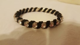 "VINTAGE STUDDED RHINESTONE BANGLE BRACELET WRAPPED IN SUEDE, 2.5""DIAMETE... - $4.94"