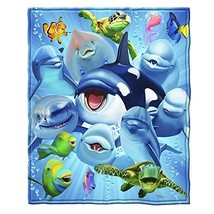 Ocean Animals Dolphin Shark Turtle Whale Selfie Fleece Throw Blanket - $18.67