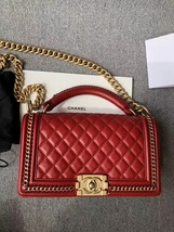 AUTHENTIC CHANEL RED QUILTED CALFSKIN 2 WAY TOP HANDLE BOY FLAP BAG RECEIPT  image 7