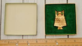 vintage Avon owl perfume locket bird brooch pin gold tone green rhinestone - $19.79