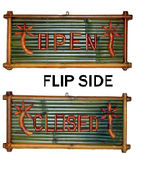 Real Bamboo OPEN CLOSED Tiki Bar Retail Store Sign Surf Shop Man Cave Ho... - $49.39