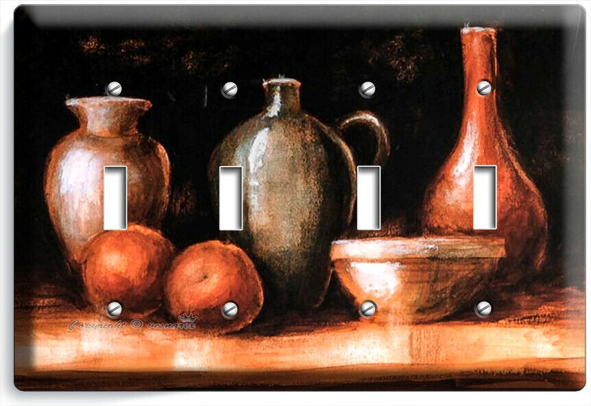 WESTERN COUNTRY RUSTIC POTTERY WINE JUG 4 GANG LIGHT SWITCH PLATES KITCHEN DECOR